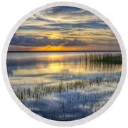 Lakeside At Sunset Round Beach Towel