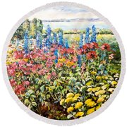 Lakeside Garden Round Beach Towel