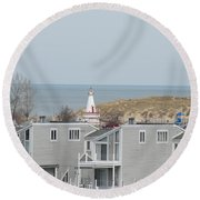 Lakeside Lighthouse  Round Beach Towel