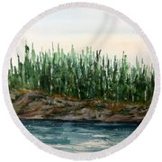 Lakeside No. 1 Lake Of The Woods Round Beach Towel