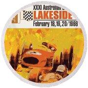 Lakeside Racing Round Beach Towel by Gary Grayson
