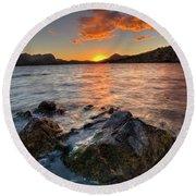 Lakeside Sunset Round Beach Towel