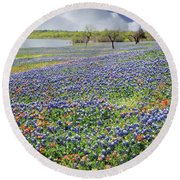 Round Beach Towel featuring the photograph Lakeside Texas Bluebonnets by David and Carol Kelly