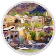 Lakeside Village Round Beach Towel