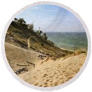 Round Beach Towel featuring the photograph Laketown Dune Panorama by Michelle Calkins