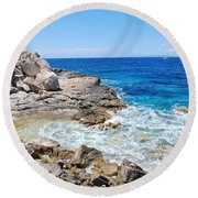 Lakka Coastline On Paxos Round Beach Towel