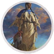 Lakota Woman Round Beach Towel