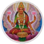 Lakshmi Blessing Round Beach Towel by Sue Halstenberg