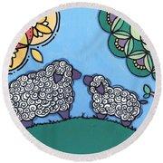 Lamb And Mama Sheep Round Beach Towel