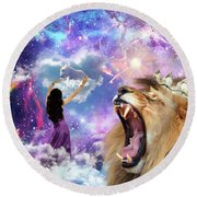 Round Beach Towel featuring the digital art Lamb Of God by Dolores Develde
