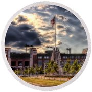Lambeau Field Awakes Round Beach Towel by Joel Witmeyer