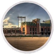 Lambeau Field Round Beach Towel by Joel Witmeyer