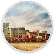 Round Beach Towel featuring the photograph Lambeau Field Retro Feel by Joel Witmeyer