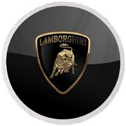 Lamborghini - 3d Badge On Black Round Beach Towel by Serge Averbukh