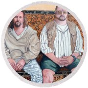 Round Beach Towel featuring the painting Lament For Donny by Tom Roderick