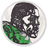 Round Beach Towel featuring the drawing Lamicheal James 2 by Jeremiah Colley