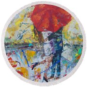 L'amour A Paris Round Beach Towel