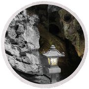 Lamp In Marble Mountain Round Beach Towel