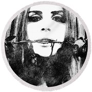 Lana Del Rey Bw Portrait Round Beach Towel by Mihaela Pater