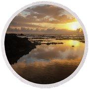 Lanai Sunset #1 Round Beach Towel