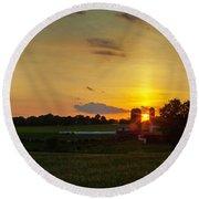 Lancaster Farm Sunset Panorama Round Beach Towel