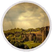 Round Beach Towel featuring the photograph Lancing College by Chris Lord