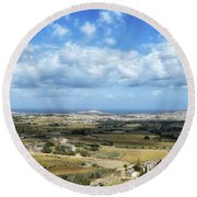 Land And Sky Round Beach Towel by Stephan Grixti