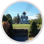 Land Locked Lighthouse Round Beach Towel by Catherine Gagne