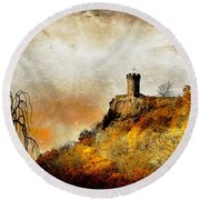 Round Beach Towel featuring the photograph Land Of Forgotten Kingdoms by Kathy Baccari