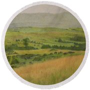 Land Of Grass Round Beach Towel