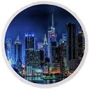 Land Of Tall Buildings Round Beach Towel
