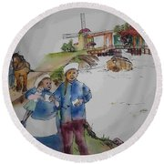 Land Of Windmill Clogs  And Tulips Album Round Beach Towel
