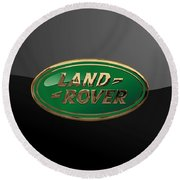 Land Rover - 3d Badge On Black Round Beach Towel by Serge Averbukh