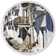 Round Beach Towel featuring the photograph Street In Capileira Puebla Blanca by Heiko Koehrer-Wagner