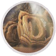 Round Beach Towel featuring the digital art Landed by Melissa Messick