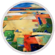 Round Beach Towel featuring the painting Landforms, You've Never Been Here by Gary Coleman