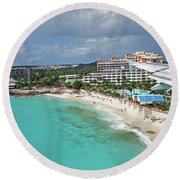 Landing Over Sunset Beach Saint Martin Caribbean Round Beach Towel