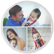Landon Collage  Round Beach Towel