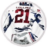 Round Beach Towel featuring the mixed media Landon Collins New York Giants Pixel Art 1 by Joe Hamilton