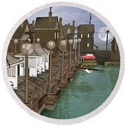 Lands End Pier Round Beach Towel