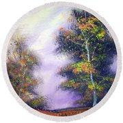 Round Beach Towel featuring the painting Landscape #1 by Raymond Doward