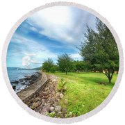 Round Beach Towel featuring the photograph Landscape 2 by Charuhas Images