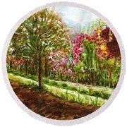 Round Beach Towel featuring the painting Landscape 2 by Harsh Malik