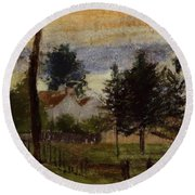 Landscape At Louveciennes Round Beach Towel