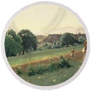 Landscape At Mornex Round Beach Towel by Jean Baptiste Corot