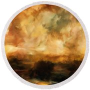 Landscape At Sunset Round Beach Towel