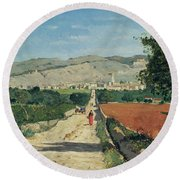 Landscape In Provence Round Beach Towel
