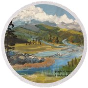 Landscape No._2 Round Beach Towel