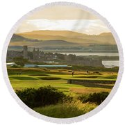 Landscape Of St Andrews Home Of Golf Round Beach Towel by MaryJane Armstrong