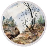 Round Beach Towel featuring the painting Landscape by Sam Sidders